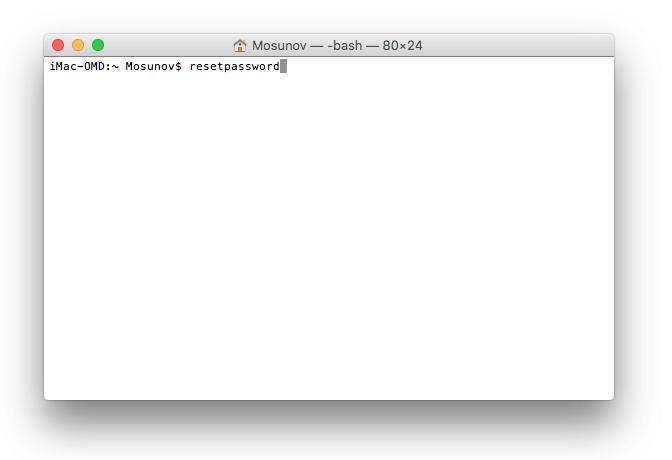 Сброс пароля Mac