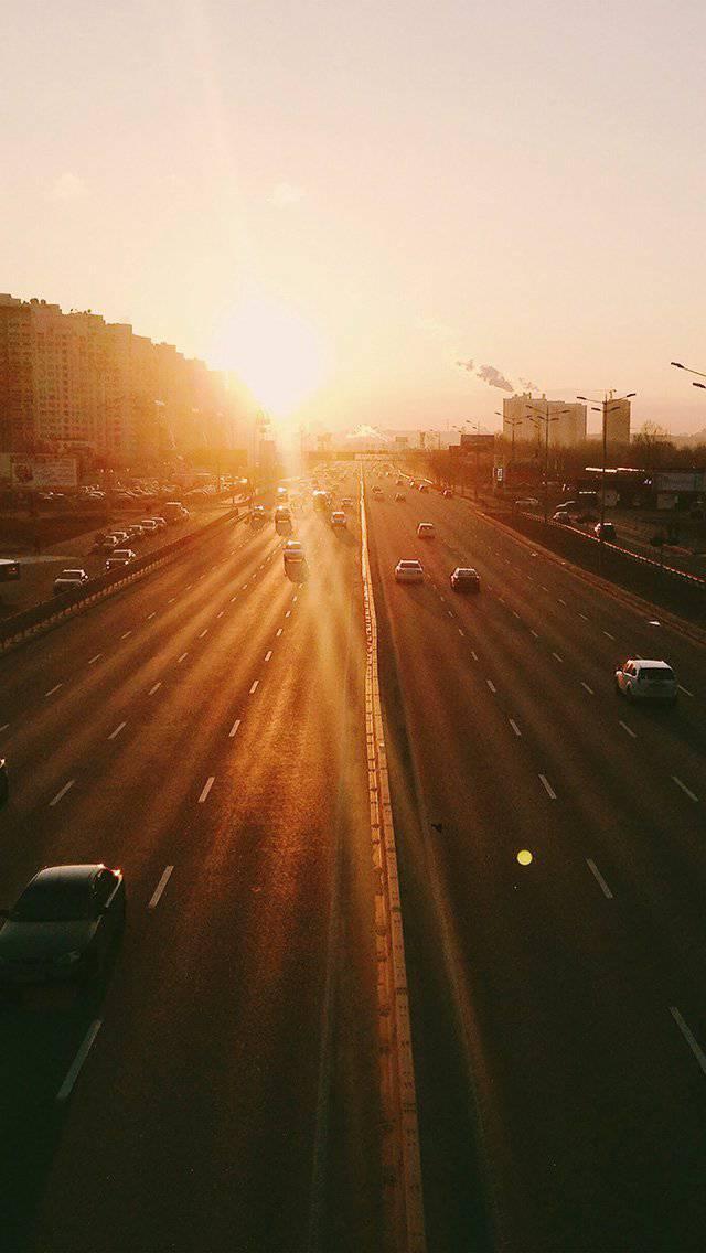 city-sunset-road-car-orange-iphone-5