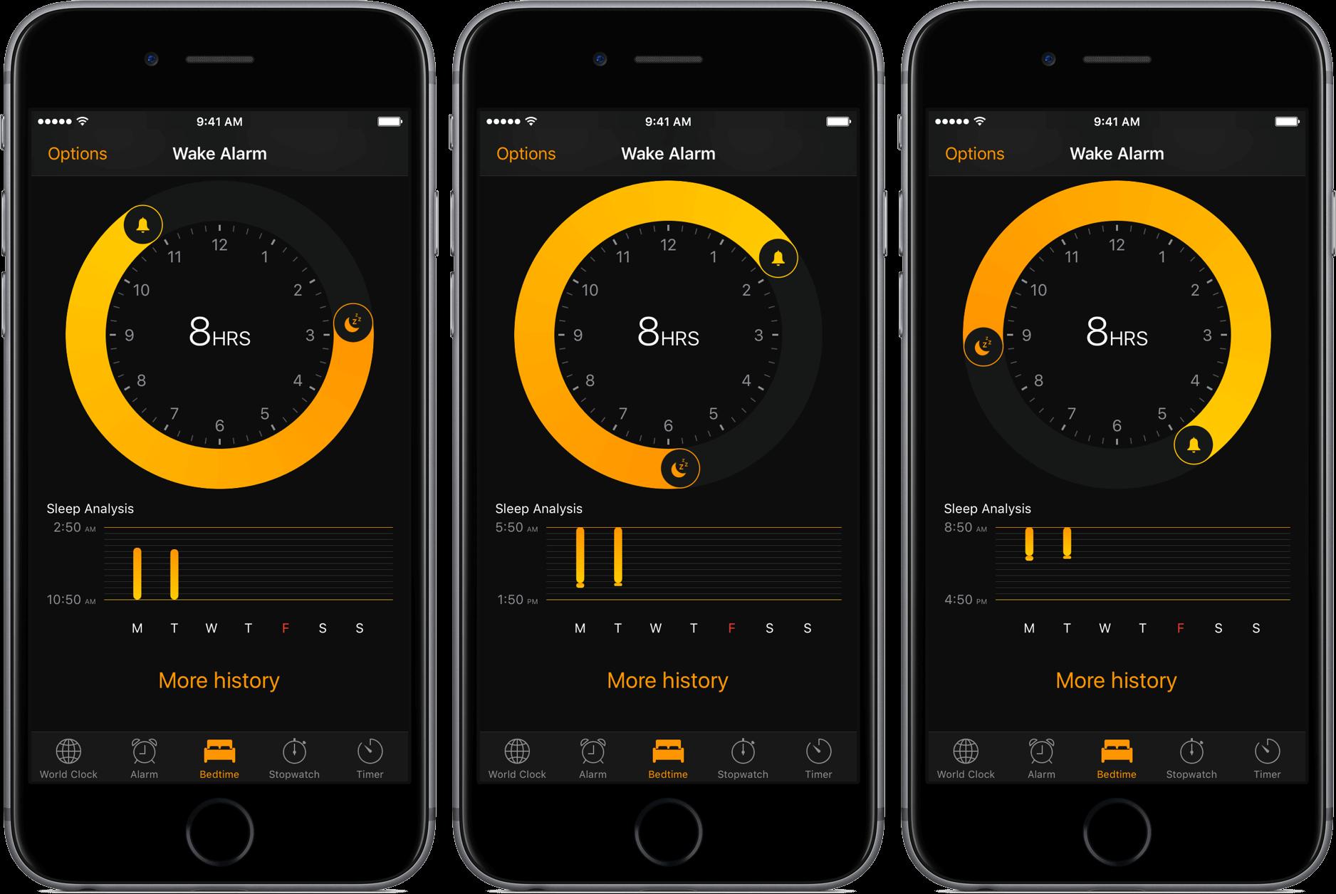 Интерфейс часов стал тёмным, появилась функция время ложиться с сигналом к пробуждению.