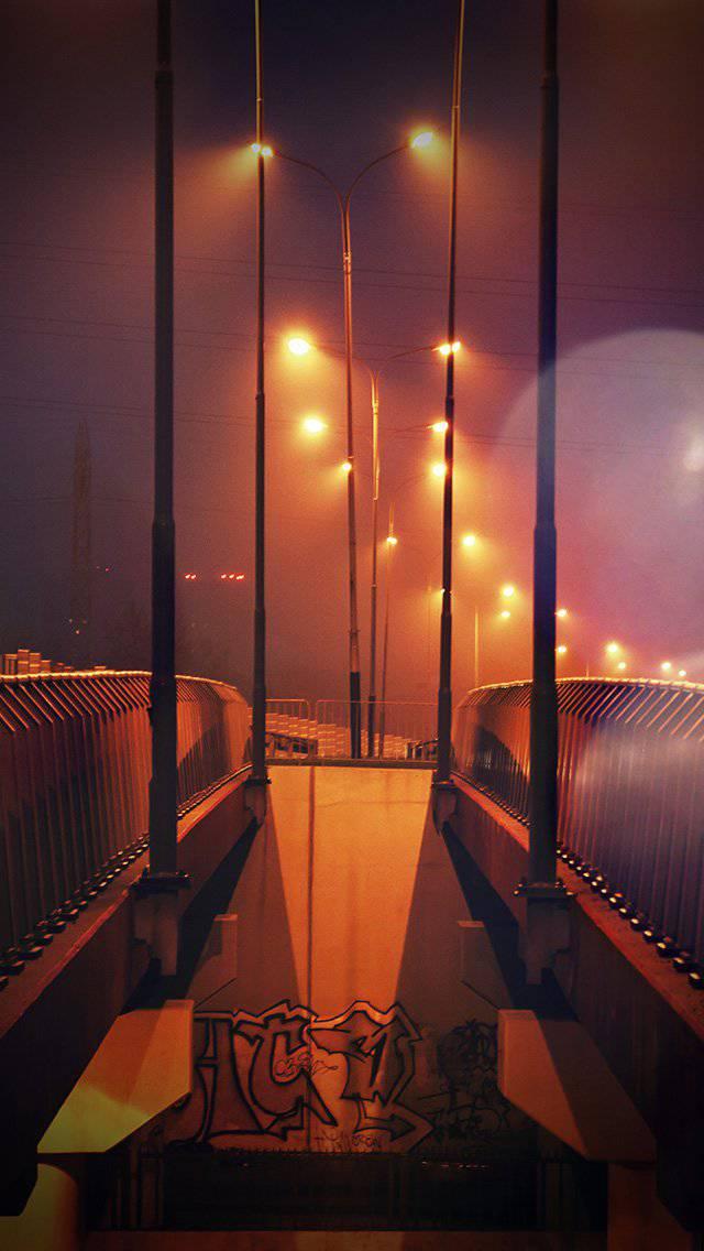 night-bridge-city-view-lights-street-orange-flare-iphone-5