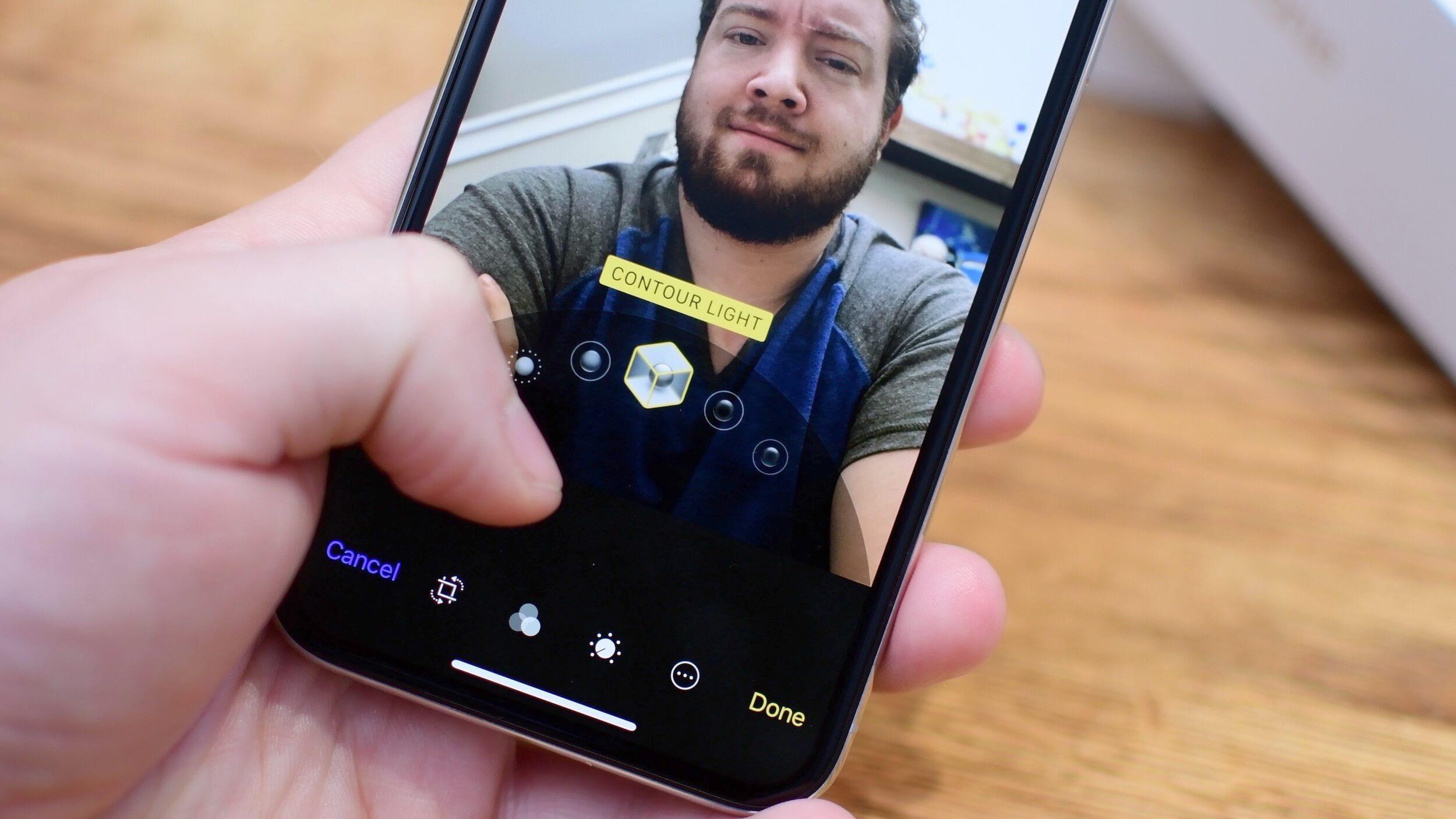 Как отрегулировать освещение на готовом снимке на iPhone