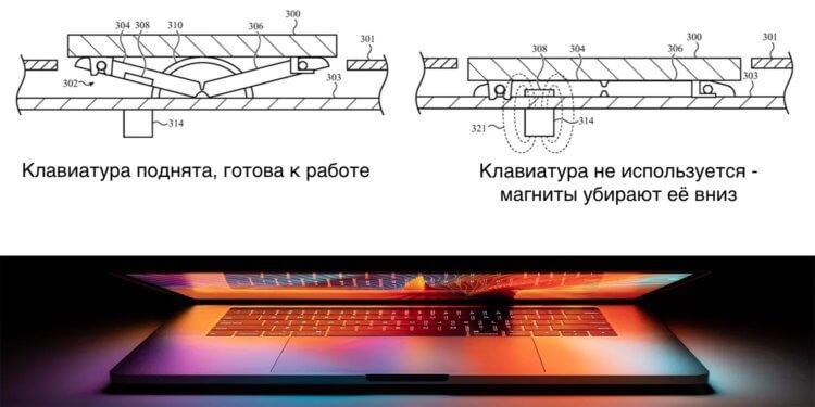 Apple придумала, как сделать MacBook тоньше: выдвижная клавиатура!