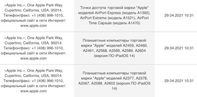 Apple зарегистрировала в России новые планшеты. Скорее всего, это iPad 10,2 и iPad mini